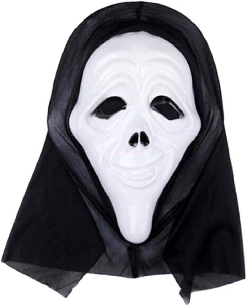 EVRYLON Maschera Scream Uomo per Carnevale O Halloween Unisex da Ragazzo Mascherina Scary Movie Mostro Assassino Horror Colore Bianco Giochi E Accessori Cosplay per Travestimenti E Costumi
