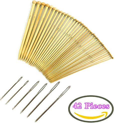 36 PCS Bamboo Knitting Needles Set (18 Sizes From 2.0mm to 10.0mm) with Large-eye Blunt Needles Steel Yarn Knitting Needles Sewing Needles, 6 Pieces