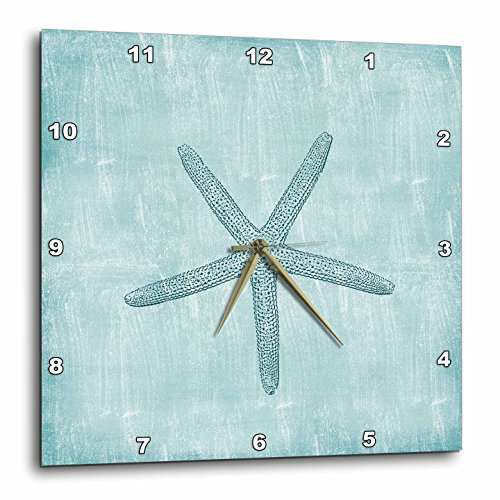 3dRose dpp_178911_1 Aqua Starfish Abstract Beach Theme-Wall Clock, 10 by 10-Inch ()