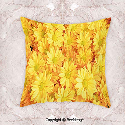 Square Throw Pillow Waist Cushion,Yellow Flower,Lively Daisies Fresh Bouquets with Natural Seasonal Bedding Plant Petals,Yellow Marigold,13.7x13.7 Inch,Soft and Comfortable for Bed Living