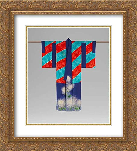 Japan Culture - 20x22 Gold Ornate Frame and Double Matted Museum Art Print - Kimono Ensemble with Chrysanthemums