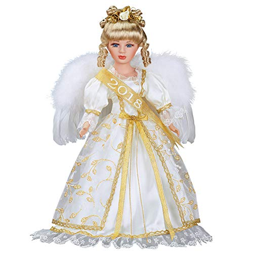 Women's Gold and White 2018 Angel Collectable Porcelain Doll