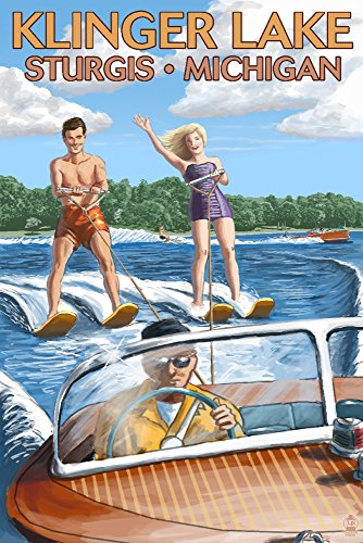 Klinger Lake - Sturgis, Michigan - Water Skiing and Wooden Boat (12x18 Signed Print Master Art Print w/Certificate of Authenticity - Wall Decor Travel Poster)