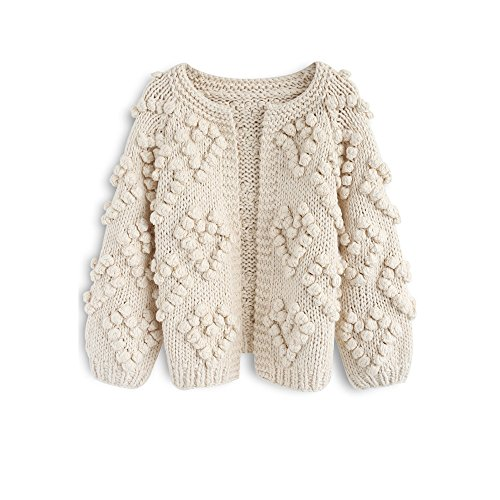 Chicwish Women's Soft Heart Shape Balls Hand Knit Open Front Ivory Cardigan