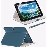 Verizon Folio Case, Screen Protector and Stylus Pen Bundle for Ellipsis 10 - Blue
