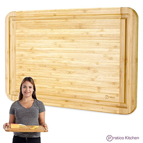 Bamboo Cutting Board and Serving Tray with Juice Groove - Extra Large 18 x 12 inches - Made Using Premium - Tray Board Cutting