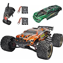 GP Toys Luctan S912 RC Trucks Upgraded Cars with More Durable Gears 33MPH 1:12 Scale Waterproof Off Road Monster Hobby Remote Control Mud Truggy Toys with Extra Gear, Battery, Covers (Orange + Green)