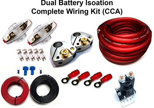 GS Power 150 amp Dual/Auxiliary Battery Charge Isolator Complete Wiring Kit w/4 Gauge CCA Cable (20 FT), Isolation Relay, Ring Terminal, Fuse, Fuse Holder for Off Road Automotive ATU, UTV, RV, RZR (Isolator Kit)