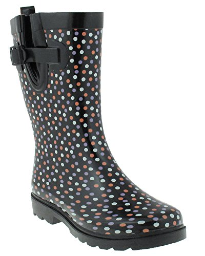 Capelli Ladies Boots Rain Black Printed Shiny New Sprinkle Dot Rubber York Combo 6rp67xT