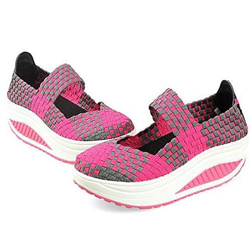 Wysbaoshu Handgemaakte Vrouwen Sandalen Mode Platform Schoenen Rose Rood