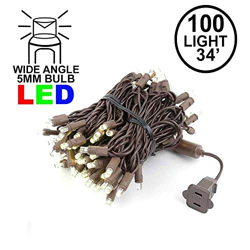(Novelty Lights 100 Light LED Christmas Mini Light Set, Outdoor Lighting Party Patio String Lights, Warm White, Brown Wire, 34 Feet)