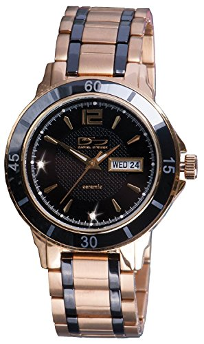 Daniel Steiger Mayfair Watch - Yellow Gold Plated Stainless Steel - Black Ceramic Bezel And Link Pieces - Precision Quartz Movement With Day & Date Features - Water - Free Mayfair Shipping