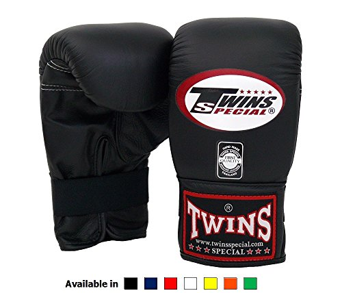 Twins Special Muay Thai Training Bag Gloves TBGL 1F Full Thumb - Black , Large