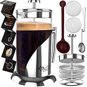 French Press Coffee Maker – BEST Presses Makers – 34 Oz, 8 Cup – The Only Encapsulated Lid Stainless Steel 304 NOT Plastic – 4 Level Filtration System & Double German Glass