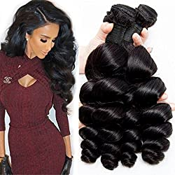 DAIMER Cheap Peruvian Loose Wave Bundles Double Weft Soft And Silky Loose Wave Human Hair Extensions Affordable Price Superior Quality Dark Brown Color (12 14 16 18)