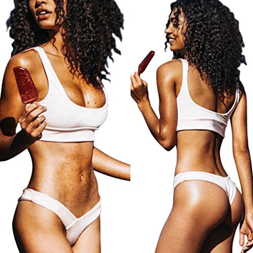 LHWY Mujeres Vendaje Bikini Set Traje De BañO Beachwear Blanco