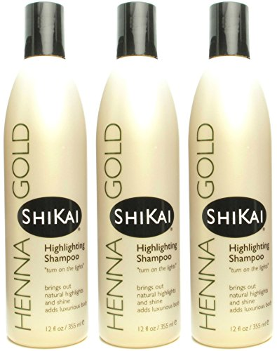 Shikai - Henna Gold Highlighting Shampoo, Brings Out Natural Highlights & Shine, Adds Luxurious Body, Plant-Based Formula with Non-Coloring Henna (Natural Fragrance, 12.6 Ounces, Pack of 3)