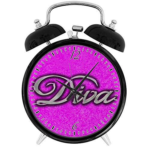(BCWAYGOD Pink Diva Princess Desk Clock Home Unique Decorative Alarm Ring Clock 3.8in)