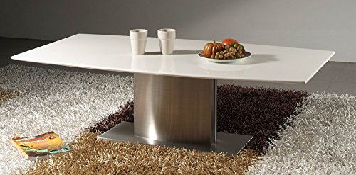 (Creative Images International Minimalist Collection White Marble Top Coffee Table with Stainless Steel Base, White)