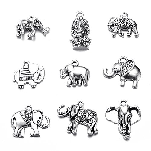 18pcs Mixed Animal Elephant Charms Pendant for DIY Jewelry Making Handmade Bracelet Necklace Key Chain Bag Accessories (18pcs)