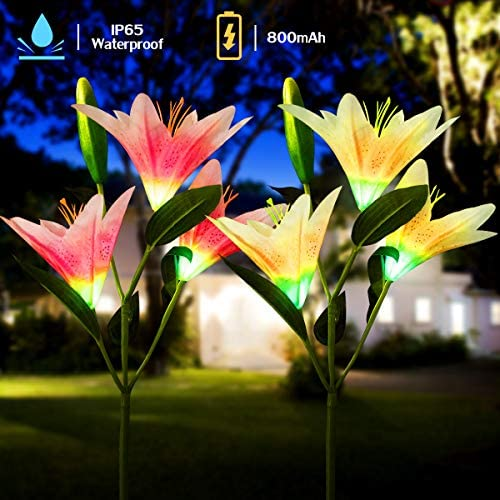 YUNLIGHTS Solar Garden Lights, 2Pcs Solar Garden Lily Flower Decorative Lights Outdoor Waterproof Solar Garden Stake Lights Multi-Color Emulated Solar Flower Lights Changing Decor for Yard, Lawn Patio