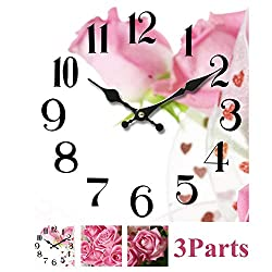 YIDIE Wall Clock Decorative,3 Pieces Square Home Customized Tempered Silent Non Ticking Battery Operated Wall Clock Easy to Read for Home Living Room Bedroom Office School