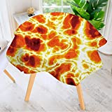 """Leighhome Table Decoration Durable- A hot Burning Lava Texture That Tiles Seamlessly as a Pattern. for Home Kitchen Dining roomWaterproof Coffee Tablecloth 59"""" Round"""