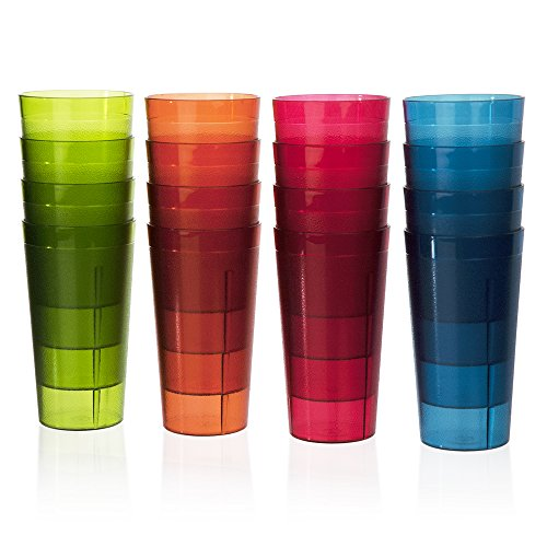 Cafe Break-Resistant Plastic 20oz Restaurant-Quality Beverage Tumblers | Set of 16 in 4 Assorted Colors. (Plastic Cup Set)
