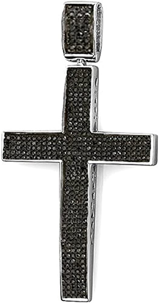 HN Jewels 14K White Gold Plated Silver 1.25 Ct Round D//VVS1 Diamond Religious Cross Pendant 18 Chain