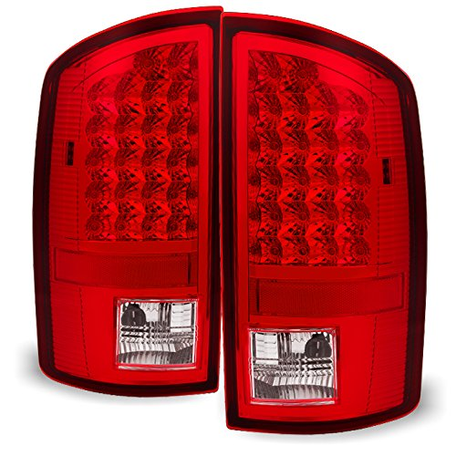 Red Clear 07-08 Dodge Ram 1500 07-09 Ram 2500 3500 Pickup Truck LED Tail Lights Pair Replacement (2500 Dodge Ram Tail Lights 2007)