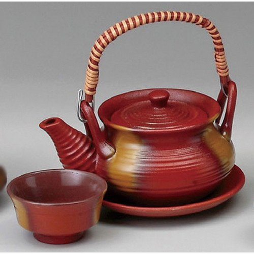 Earthen teapot for steam and boiled broth and food size [ 300cc ] Iron-red blow-out purse string soil bottle Mushi Japanese dish plates traditional oriental asian ()