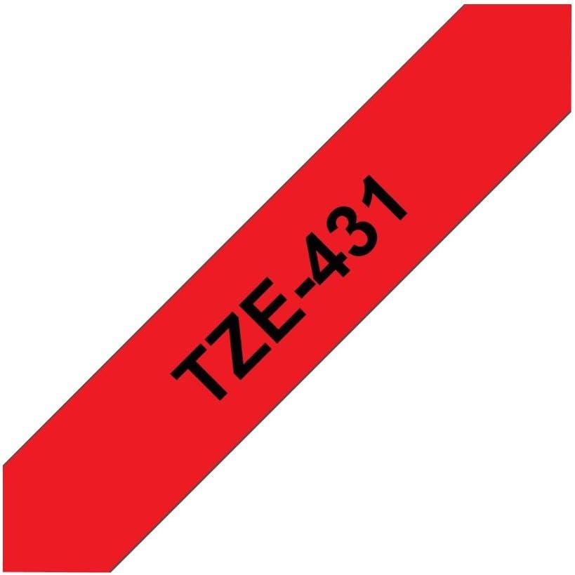 Alaskaprint Schriftband Brother TZE 431 TZE431 TZ-431 TZ431 TZ 431 12mm Schwarz auf Rot f/ür Brother P-Touch 1005 E100 H100R H105 D200 H300 1000 1010 1090 1230PC 1280 2480 310 540 1080 D200VP 1200 GL200