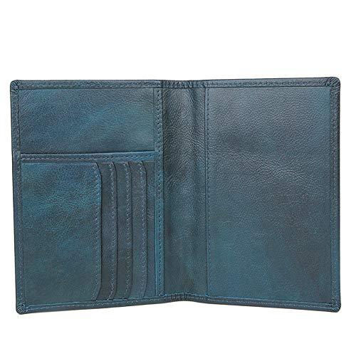 Beurre Carton Portefeuille Hommes S color documents Cuir Bouclier En Pour Porte Size Rfid Blue Passeport Supérieure Yellow Couche Sac xxrwv8qg5