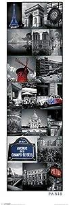 Pyramid America Paris Collage Laminated Dry Erase Sign Poster 36x12