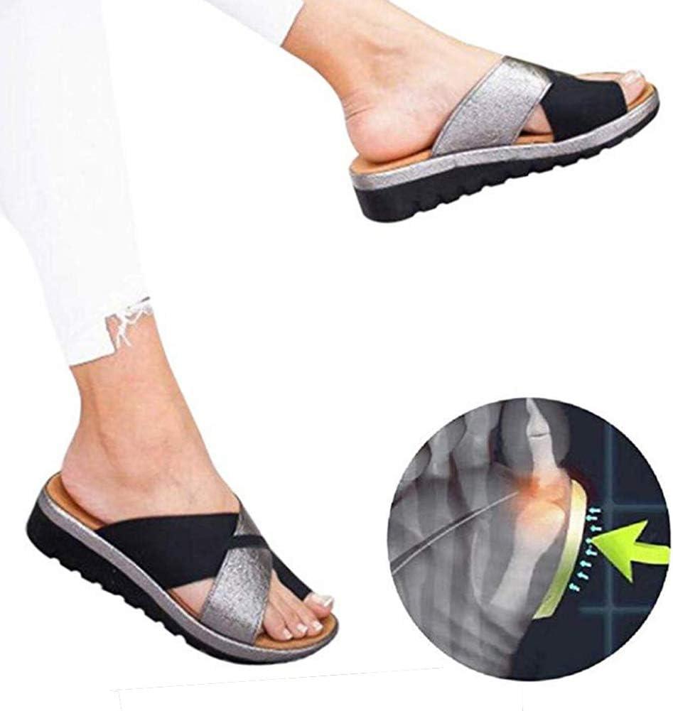 Plataformas Sandalias de Mujer Plana Cuero de PU Zapatillas Corrector de juanetes ortopédico Casuales Antideslizante Respirable Zapatos ortopédicos Viaje Verano Playa 2019(Negro),Black,38