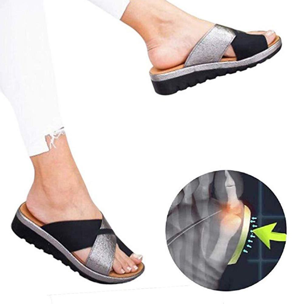 Attelles Sandales Femmes 2019 New Cuir PU Occasionnel Shoes Platform Semi Trailer correcteur doignon Chaussures Orthop/édique Summer Respirante Peep Toe Beach Travel Noir ,Black,35