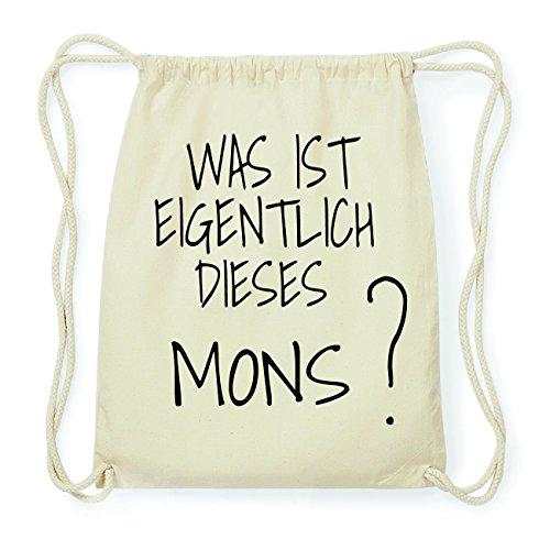 JOllify MONS Hipster Turnbeutel Tasche Rucksack aus Baumwolle - Farbe: natur Design: Was ist eigentlich onV31aDZ