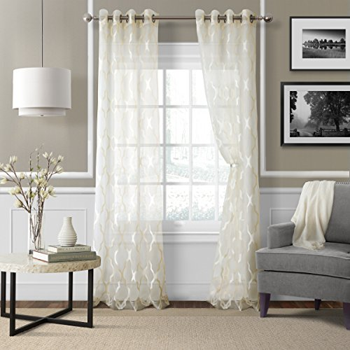 Elrene Home Fashions 026865853964 Grommet Sheer Ironwork Jacquard Woven Single Panel Window Curtain Drape, 52
