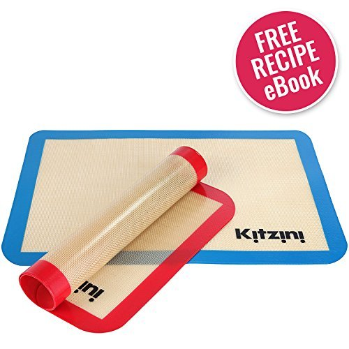Silicone Baking Mat Sheet Set (2) Half Sheets 16.5' x 11 5/8 - Non Stick Cookie Sheets Professional Grade - Includes Bonus Recipe eBook