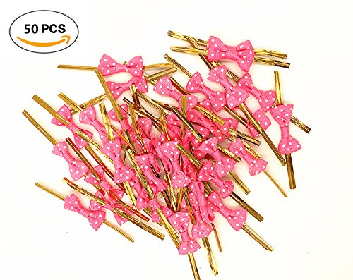 Babycola's Mum 50 pcs Lovely Cute Bow Twist Tie for Bakery Candy Lollipop Cello Bag (Rose -