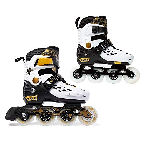 (YF YOUFU Adjustable Inline Skates for Boys/Girls/Kids/Adult, Roller Skate/Blades with Triple Protection, Front Foot Shield, Hard PU Wheels, Patines with Light-up Wheel for Youth, Men,)