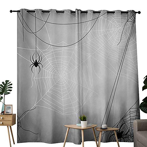 NUOMANAN Curtains 63 inch Length Spider Web,Spiders Hanging from Webs Halloween Inspired Design Dangerous Cartoon Icon,Grey Black White,Insulating Room Darkening Blackout Drapes for Bedroom -