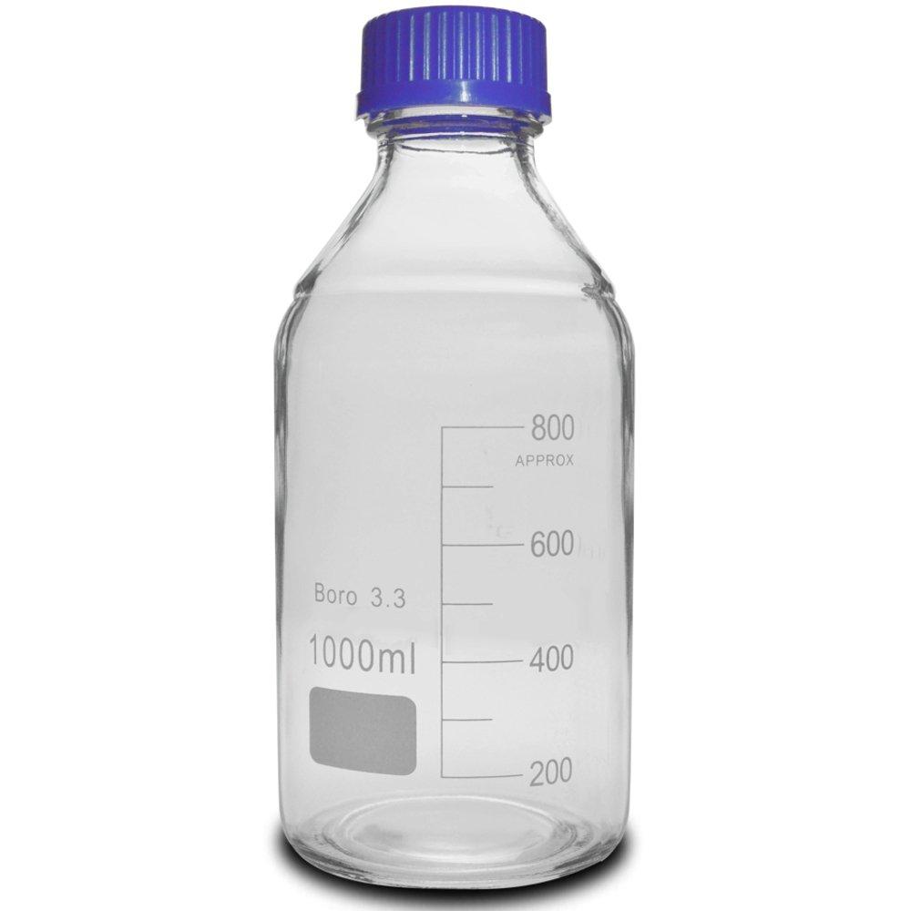 1000ml Glass Media Storage Bottles, 3.3 Boro, PVC-Coated, Round, with GL45 Screw Cap, Karter Scientific 232J4 (Single)