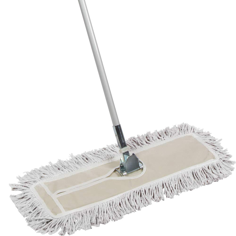Tidy Tools 24 inch Industrial Strength Cotton Dust Mop with Metal Telescopic Handle and Frame. 24'' X 5'' Wide Mop Head with Cut Ends - Hardwood Floor Broom