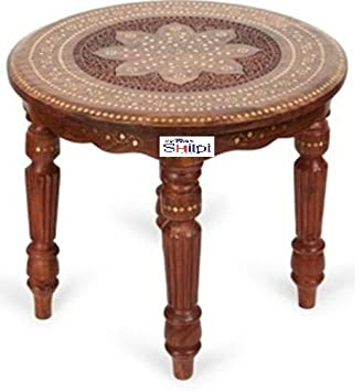 Shilpi Sheesham Wood Foldable Coffee Table / Side Table / Pack Table /  Round Table Solid