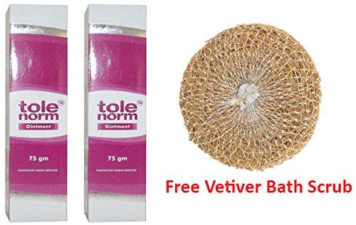 Dr.JRK's Tolenorm Ointment for Vitiligo 75g (Pack of 2) + Free Vetiver Bath Scrub