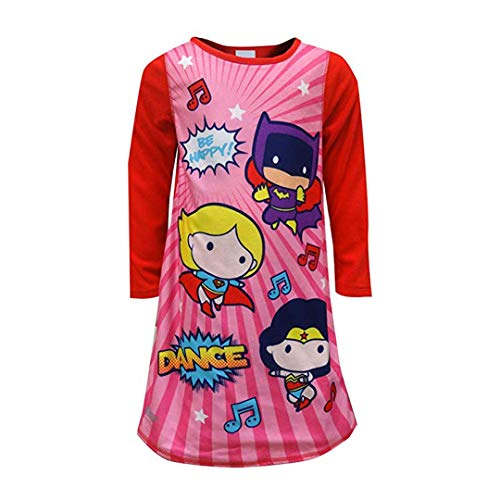 Justice League Girls' Toddler JL Reversible Nightgown, red, 2T -