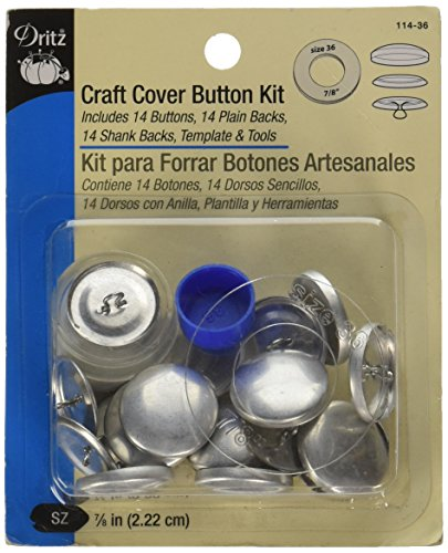 (Dritz 114-36 Craft Cover Button Kit with Tools, Size 36 (7/8-Inch), 14 Sets)