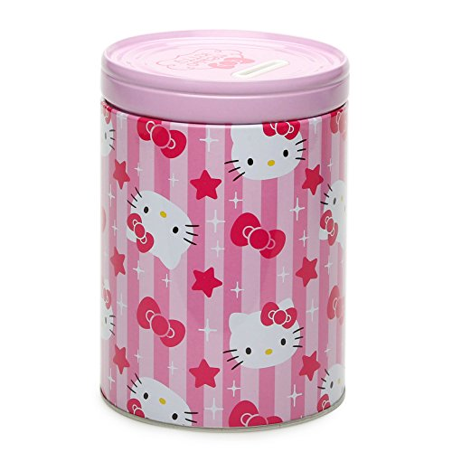Sanrio Hello Kitty Faces, Stars and Bows Round Tin Coin Bank