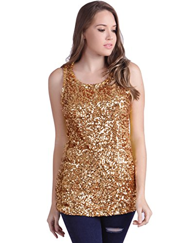 HDE Women's Shiny Sequin Tank Top Embellished Sparkly Sleeveless Party Shirt (Gold, Large) (Gold Glitter Shirt)